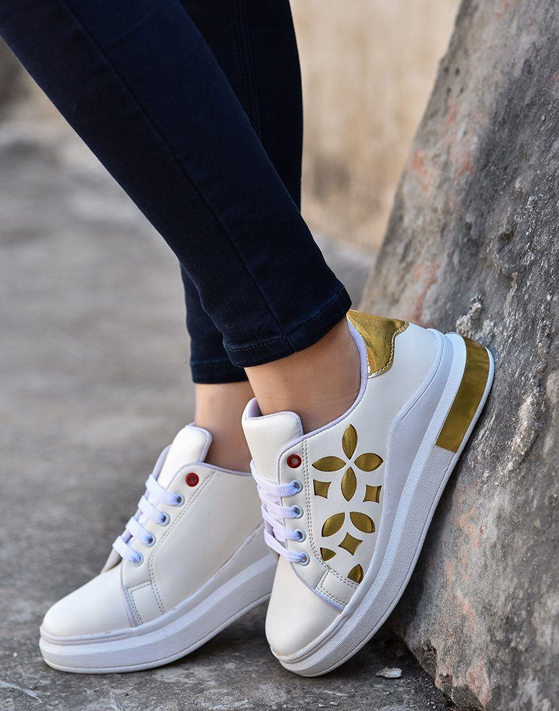 Cut Work White Gold Sneakers