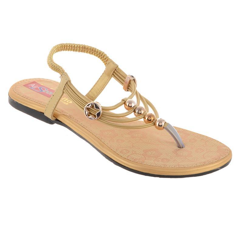 AirSoon Women's Gold Color Flats For Casual Wear