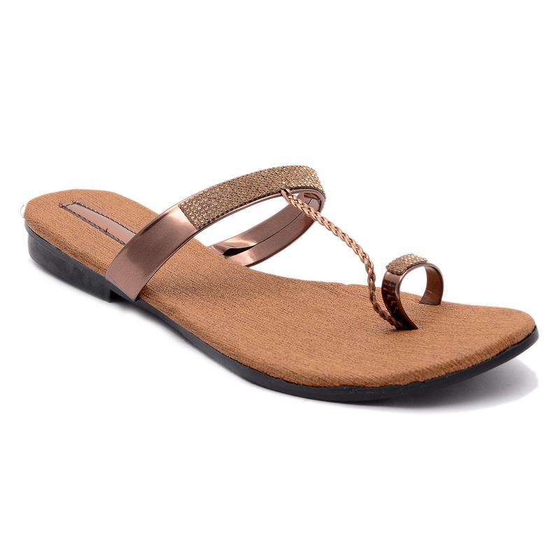 AirSoon Women's Copper Color Flats For Casual Wear