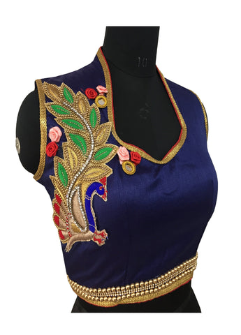 Malbari Silk Blue Color Peral & Embroidery Blouse
