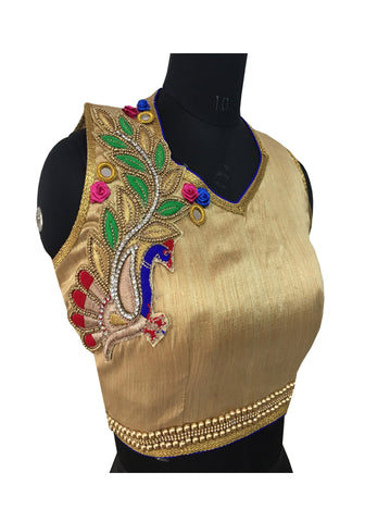 Malbari Silk Gold Color  Peral & Embroidery Work Blouse