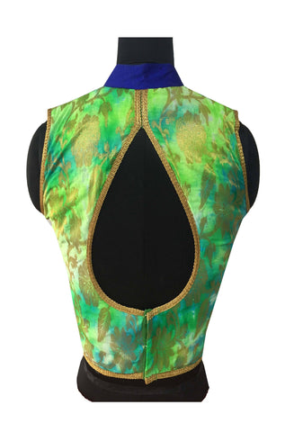Silk & Tapeta Silk Green Blue Color Pearl & Diamond Work Blouseb