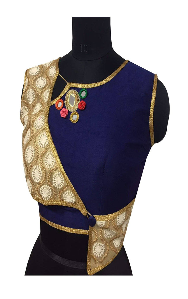 Blue Color Embroidery & Mirror Work Blouse