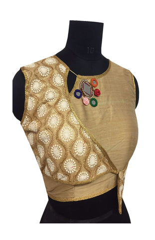 Women's Malbari Silk & Net Gold & Gold Color Blouse