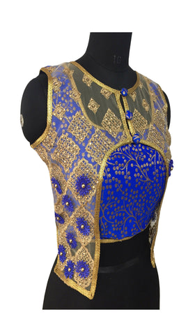 Jacquard Silk & Net Gold & Blue Color