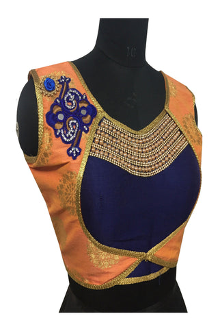 Orange & Blue Color Fashion Neck Pearl & Diamond Work Blouse