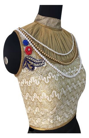 Rasal & Soft Net Gold Color  Pearl & Diamond Work Blouse