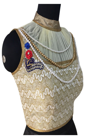 Rasal & Soft Net White Color  Pearl & Diamond Work Blouse