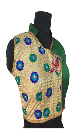 Soft Net Gold & Green Color  Embroidery & Diamond Work Blouse
