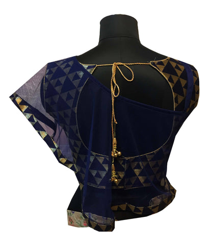 NavyBlue Fashion Neck With Shrug Blouse