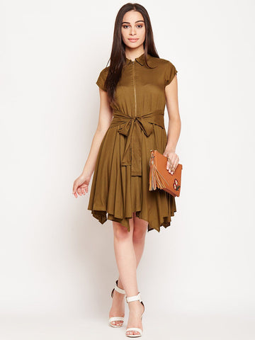 Olive Knee Length Asymmetric Dress