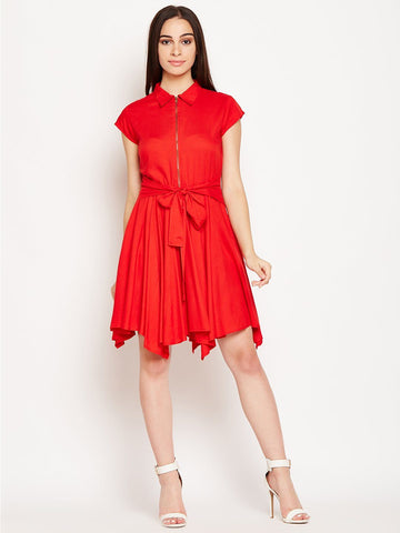 Red Knee Length Asymmetric Dress