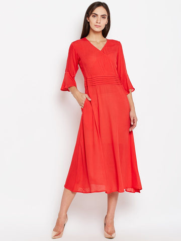 Solid Red Viscose Dress