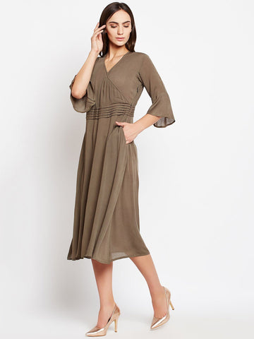 Solid Olive Viscose Dress