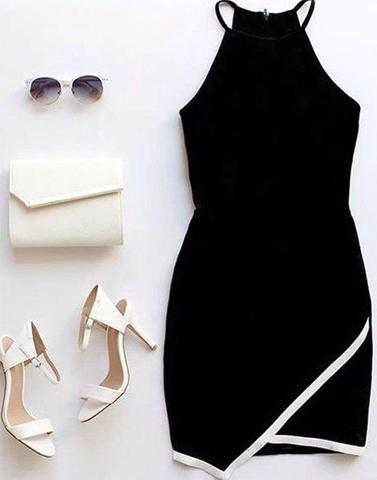 Black Bodycon Halter Neck Dress