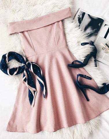 Sweet Off Shoulder Skater Pink Dress