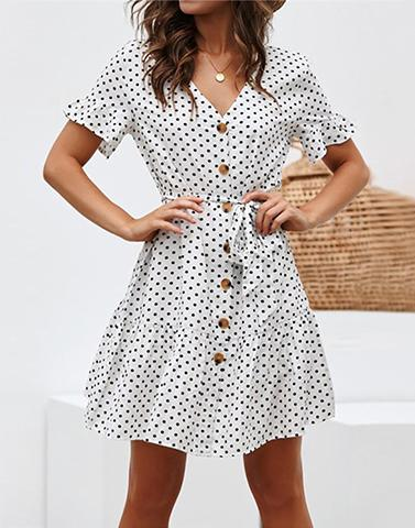 Going Crazy Button Up Skater Dress