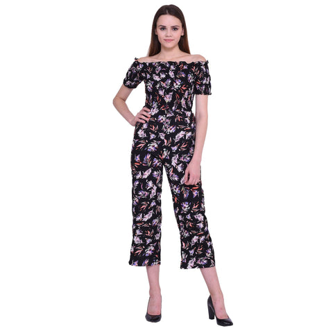 Dare Above All Casual Half Sleeve Flower Printed Women's  Jumpsuit
