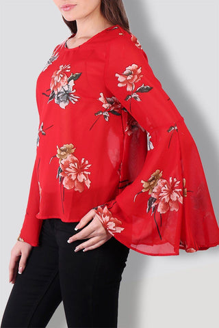 Floral Red Bell Sleeves Top