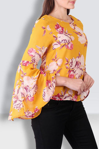 Floral Yellow Bell Sleeves Top