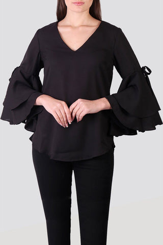 Solid Black Ruffle Top