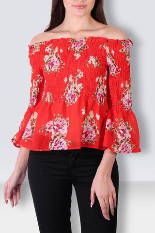 Pleated Elastic Off Shoulder Floral Red Top