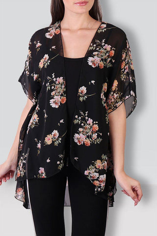 Black Floral Printed Shrug