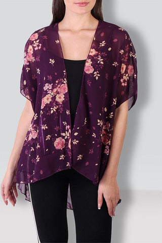 Purple Floral Printed Shrug