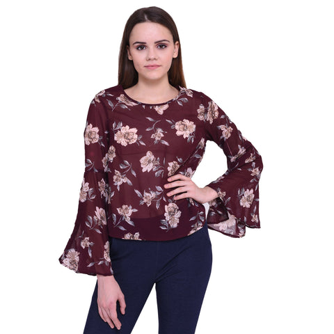 Dare Above All Casual Bell Sleeve Printed Women's Maroon Top