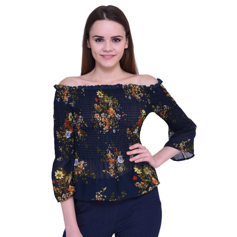 Dare Above All Casual Half Sleeve Flower Printed Women's Top