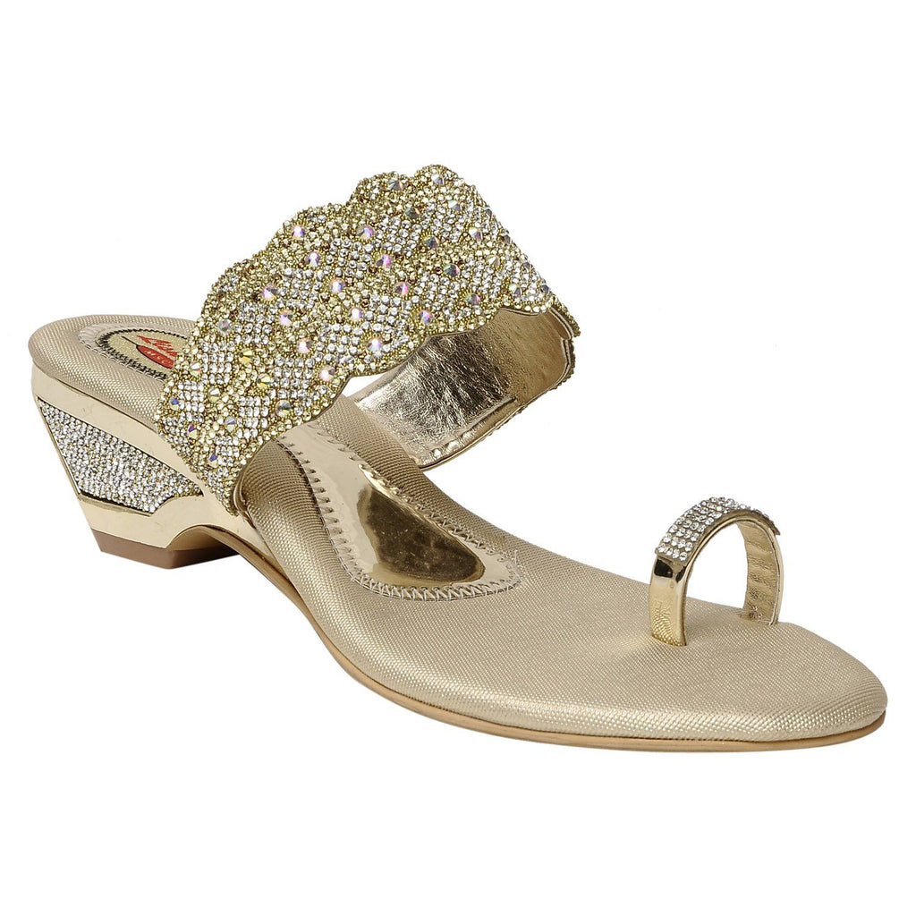 MSC Women Gold synthetic Sandal