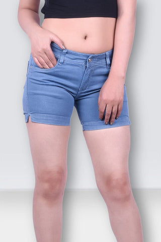Women Light Blue Denim Shorts