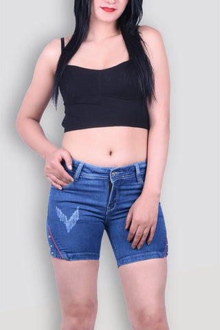 Ladies Denim Dark Blue Shorts
