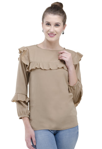 stylish new design full sleeves brown top