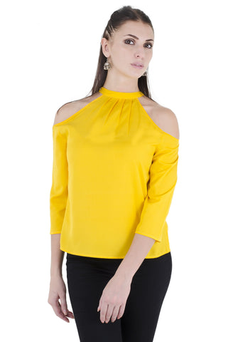 solid yellow color cold shoulder top