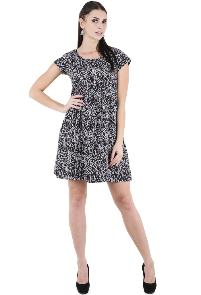 Black Printed Dress With Round Neck