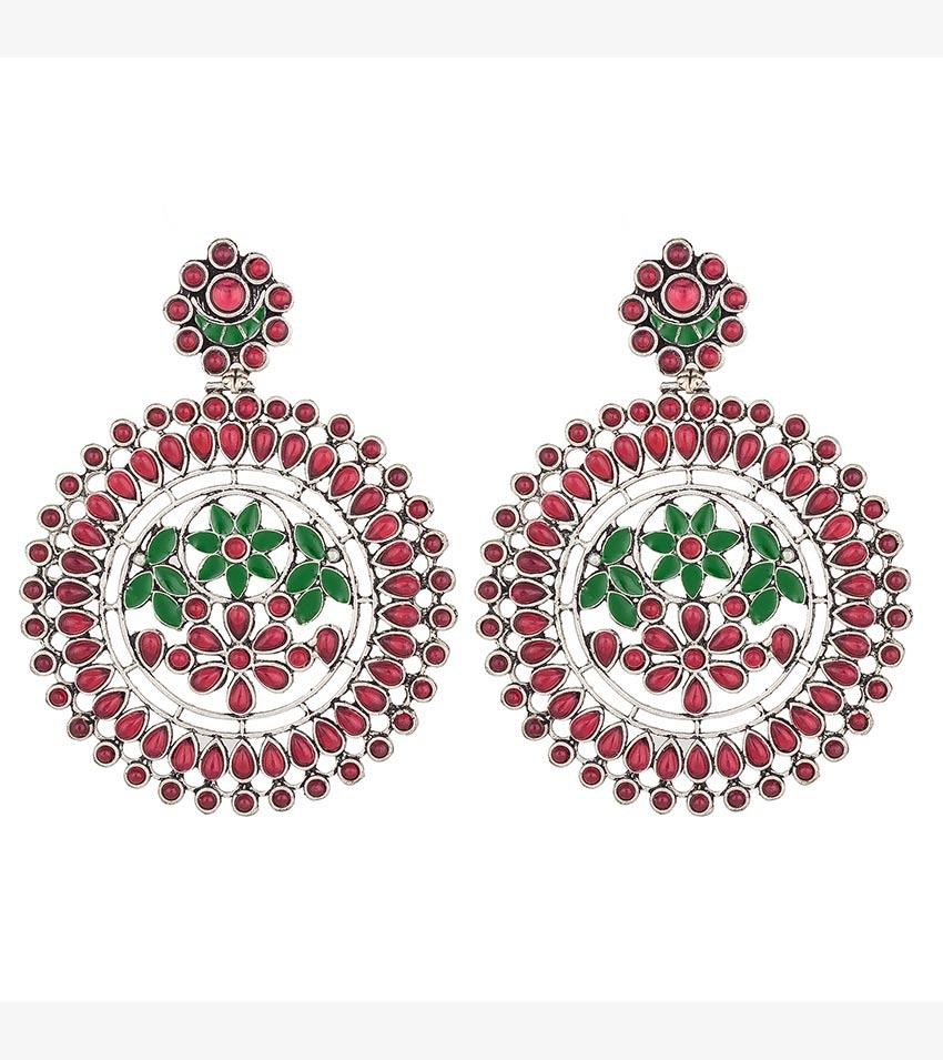 Aadita Ethnic Traditional German Oxidised Tribal Silver Juhmki Earrings for Women and Girls