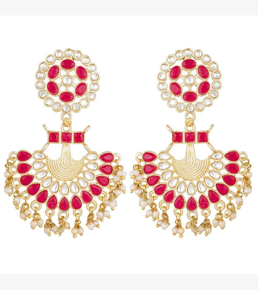 Aadita Ethinc Traditional Gold Plated Tassel Jhumki Chandbali Earrings for Women and Girls