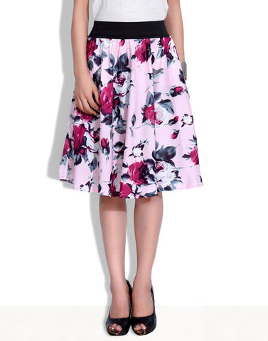 Digital Rose Print knee Length Skirt