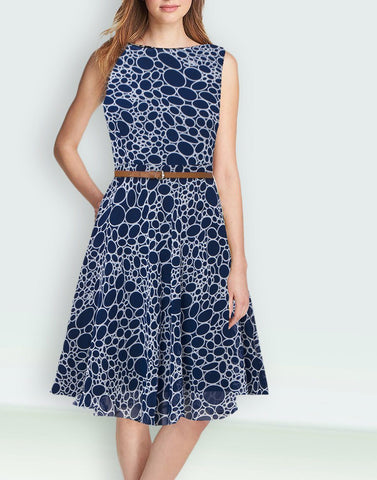 Printed Blue Classy Dresses