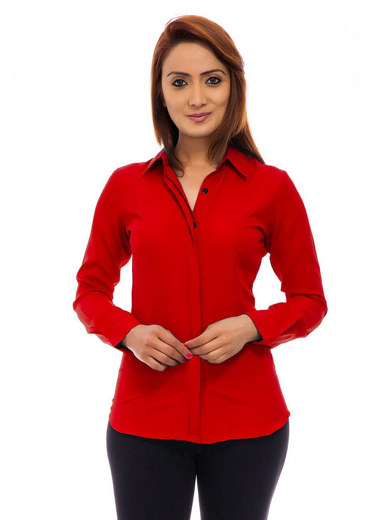 Femninora Women'S Red Color Long Sleeves Shirt