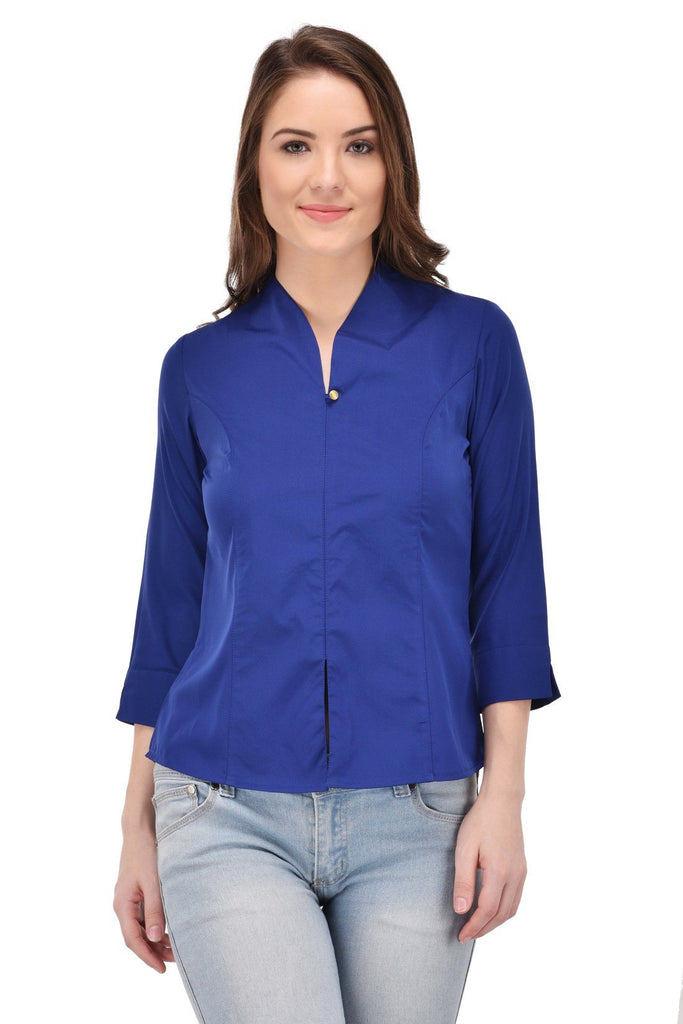 Femninora Women'S 3/4Th Sleeve Party/Casual Wear Blue Color Top
