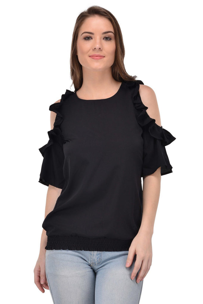 Femninora Women'S Half Sleeve Party/Casual Wear Black Color Top