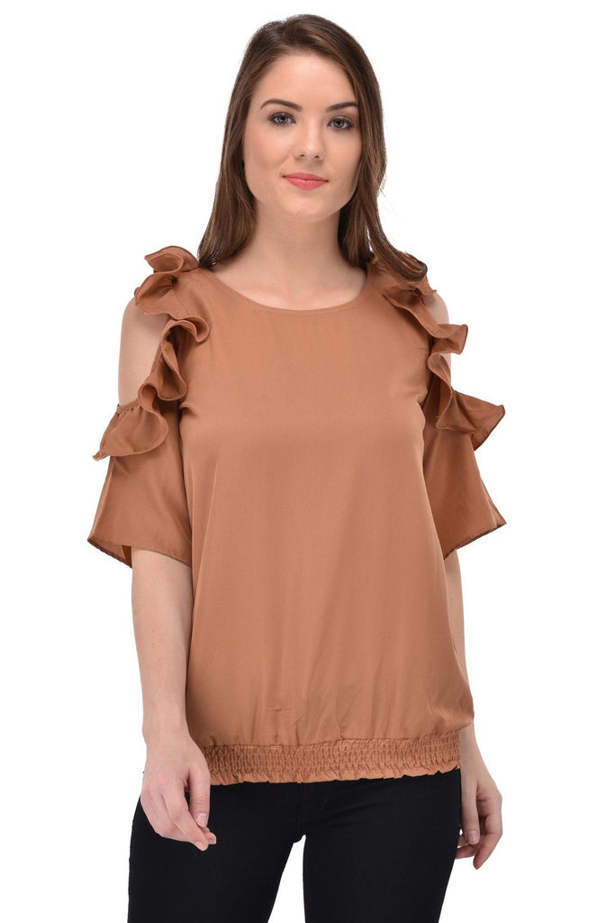 Femninora Women'S Half Sleeve Party/Casual Wear Brown Color Top