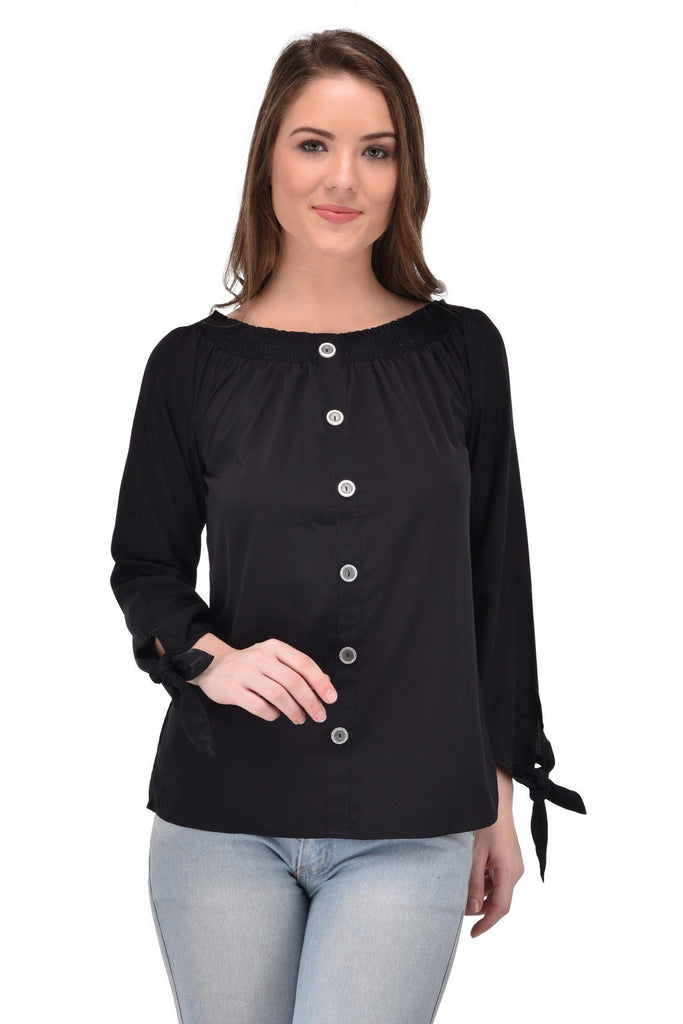 Femninora Women'S 3/4Th Sleeve Party/Casual Wear Black Color Top
