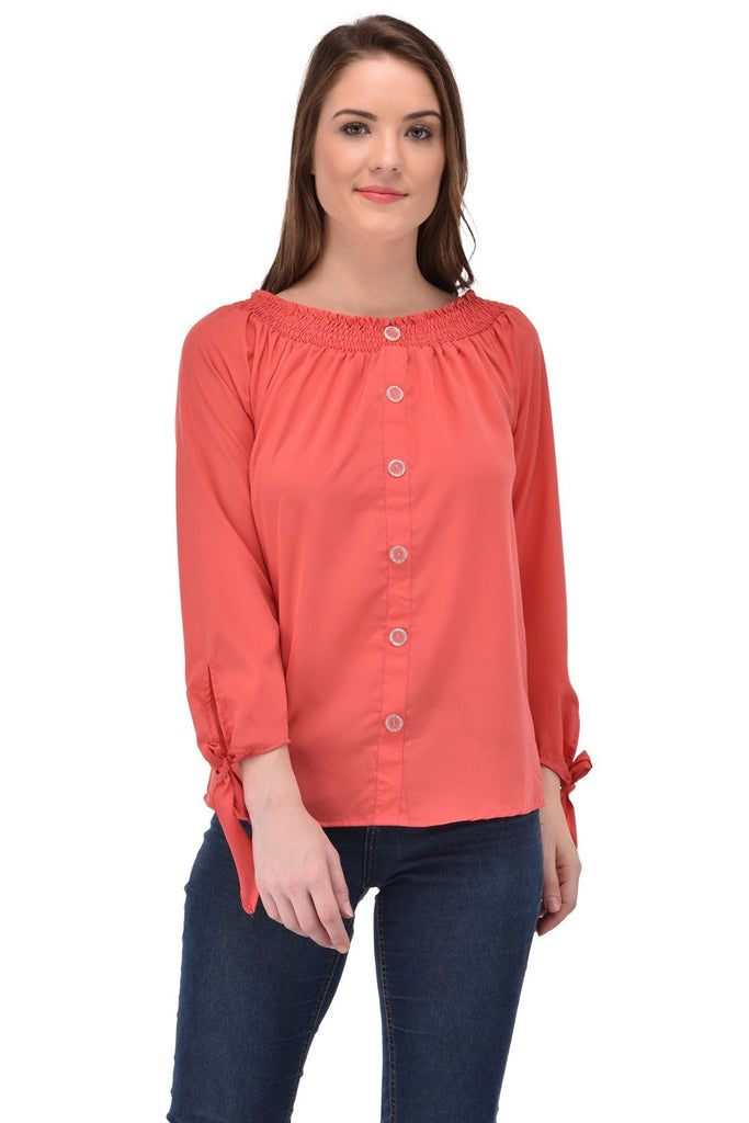 Femninora Women'S 3/4Th Sleeve Party/Casual Wear Carrot Color Top