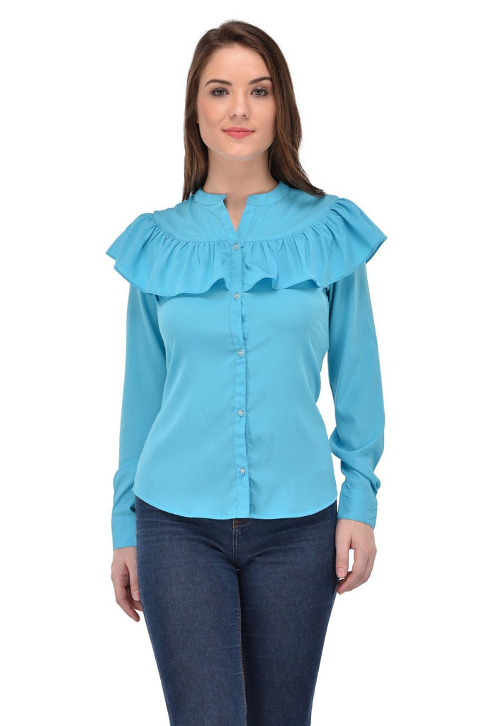 Femninora Women'S Full Sleeve Casual Blue Color Shirt