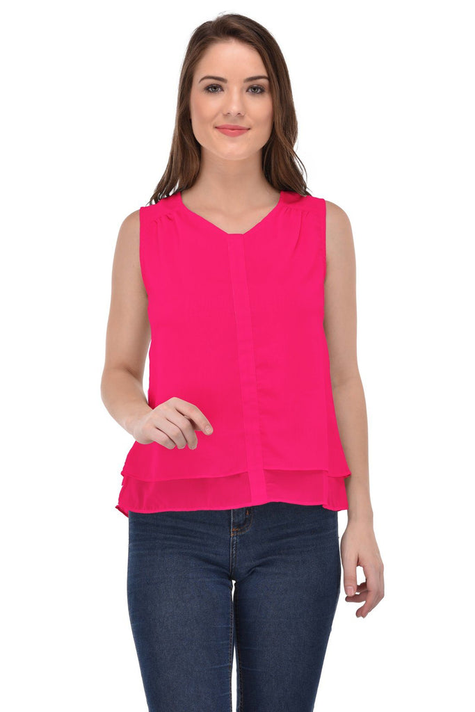 Femninora Women'S Sleeveless Party/Casual Wear Pink Color Top