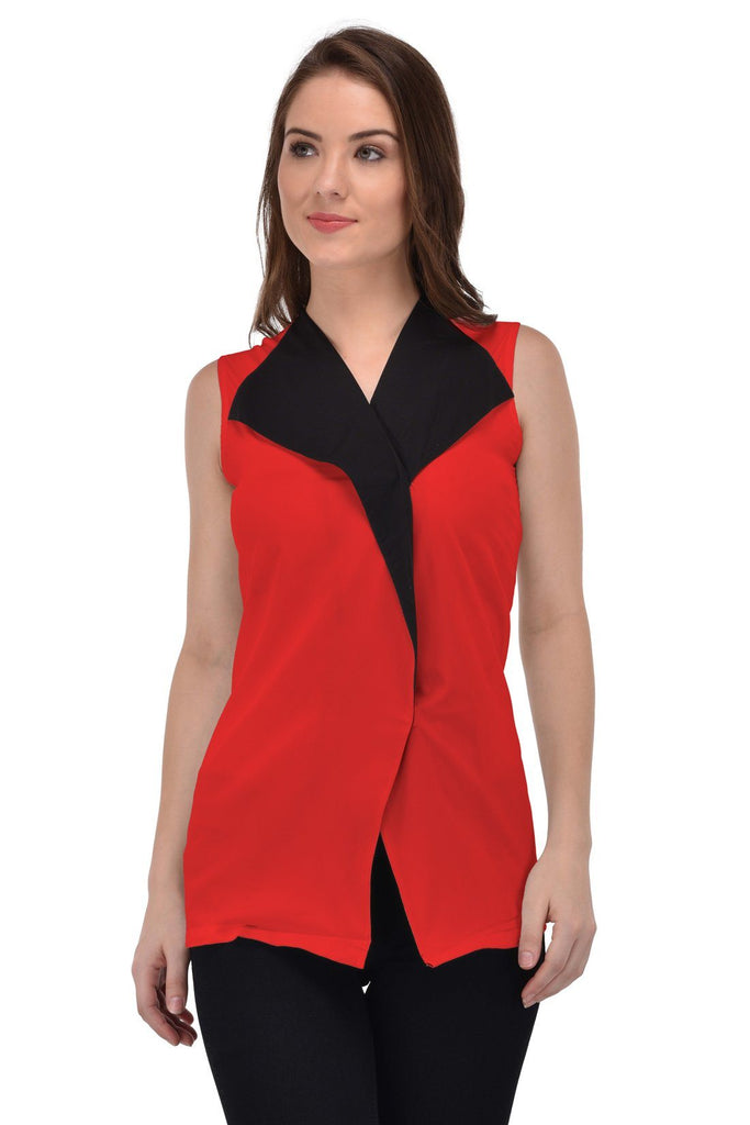 Femninora Women'S Sleeveless Party/Casual Wear Red Color Top