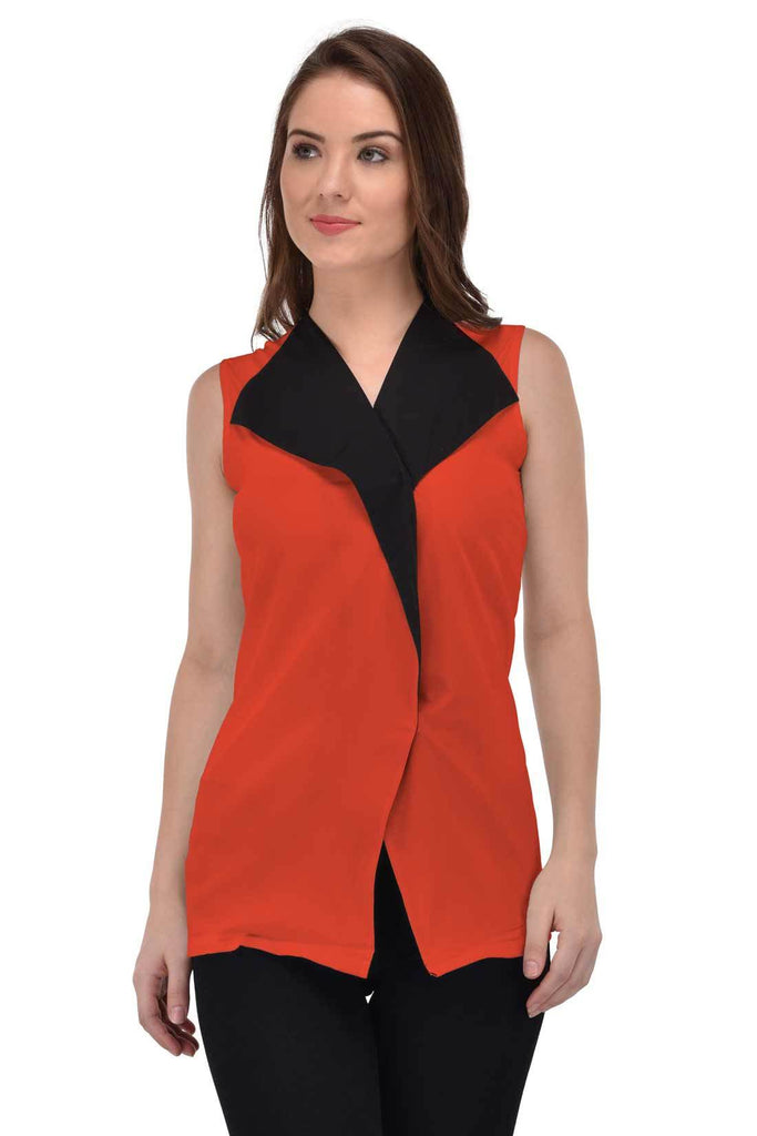 Femninora Women'S Sleeveless Party/Casual Wear Carrot Color Top